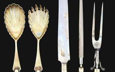 LOT OF STERLING KNIVES AND CAMEO GLASS SALAD FORK AND