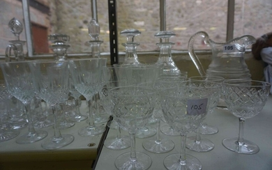 Large Quantity of Crystal and Glass Wares, To include decanters, jug, crystal glasses etc