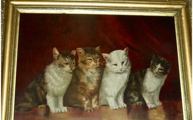 Late American 19th C Cat Painting w/ 4 Kittens