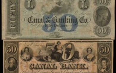 Lot of (10) New Orleans, Louisiana. Canal Bank and Canal & Banking Co. 18xx. $20 to $100. About Uncirculated. Remainders.
