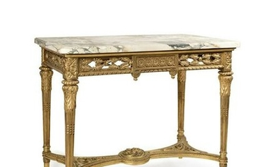 Louis XVI Style Gilt Wood Marble Top Center Table