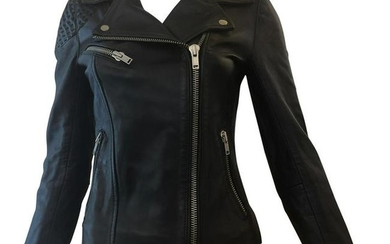 MAJE Buttery Soft Black Leather Jacket w/Woven Leather