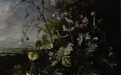 MATTHIAS WITHOOS   FOREST FLOOR STILL LIFE WITH VARIOUS FLOWERS, BUTTERFLIES, AND LIZARDS, ALL BEFORE A LANDSCAPE