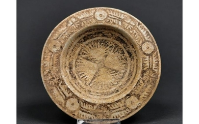 MEDIEVAL ISLAMIC PAINTED PLATE