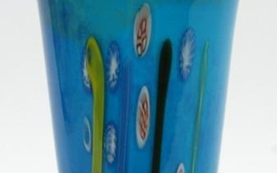 MURANO ITALY UNSIGNED BLUE VASE, 1960'S
