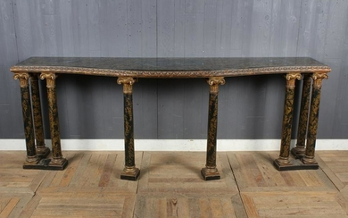 Faux Painted Marble Top Console