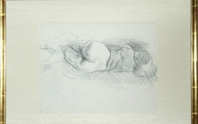 "Moses Soyer ""Reclining Nude"" Pencil Drawing"