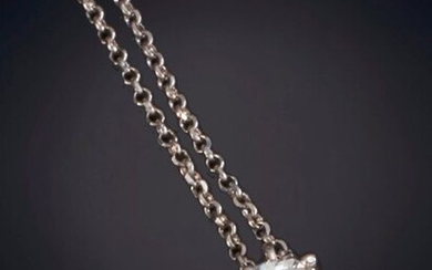 NECKLACE WITH SHINY SOLITAIRE TYPE PENDANT. Frame in 18K white gold. Output: 595.00 Euros. (99.000 Ptas.)
