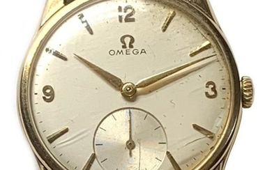 OMEGA; a gentleman's 9ct yellow gold vintage wristwatch, the...
