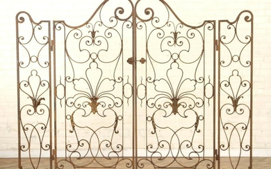 PAIR FRENCH WROUGHT IRON GATES WITH STANCHIONS