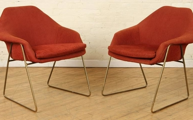 PAIR MCM UPHOLSTERED ARM CHAIRS CIRCA 1960