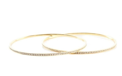 PAIR OF GOLD & DIAMOND BANGLE BRACELETS, 15g