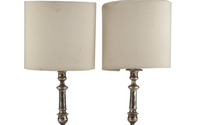 PAIR OF SILVER-PLATED LAMPS ITALY 20TH CENTURY