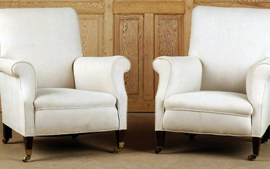PAIR UPHOLSTERED ENGLISH LIBRARY CHAIRS C. 1910