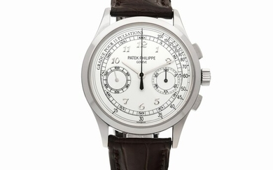 PATEK PHILIPPE   REF 5170 WHITE GOLD CHRONOGRAPH WRISTWATCH WITH PULSATION SCALE CIRCA 2014