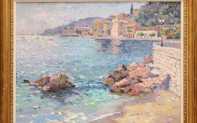 """PIERRE BITTAR (FRENCH/AMERICAN, B. 1934), OIL PAINTING, H 32"""", W 39"""", VILLE FRANCHE, FRANCE"""