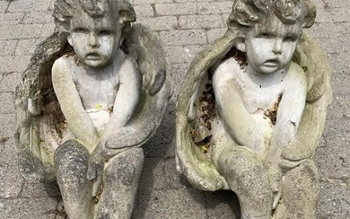 Pair Cast Stone Figural Seated Putti Angel Statues