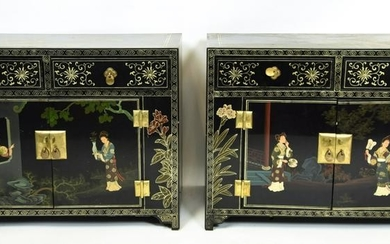 Pair Chinese Hand Painted End Table Cabinets