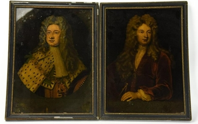Pair Noblemen Portrait Prints in Antique Frames