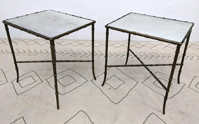 Pair Painted Faux Bamboo Metal Side End Tables. Eglomis