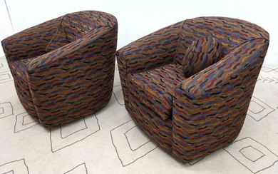 Pair Upholstered Swivel Tub Lounge Chairs. Colorful fab