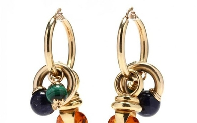 Pair of 14KT Gold Hoops by UnoAerre with Gem-Set Charms