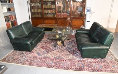 Pair of 2-seater sofas in green leather