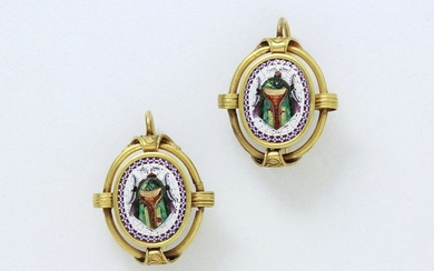 Pair of 750 thousandths gold earrings made of...