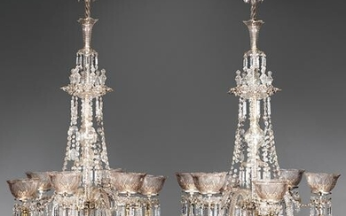 Pair of American Cut Glass Gasoliers
