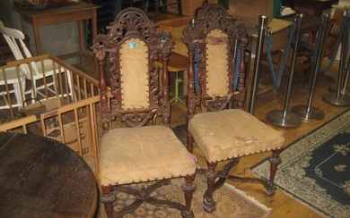 Pair of Carved Walnut Hall Chairs (restoration required)