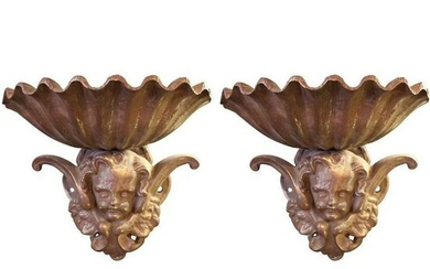 Pair of Cherub Garden Wall Elements