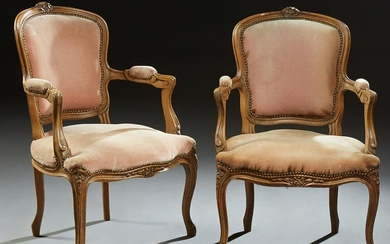 Pair of French Louis XV Style Upholstered Beech