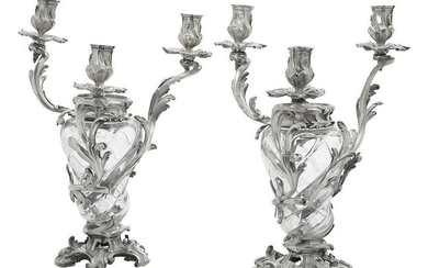 Pair of French Silver & Crystal Candelabra Vases