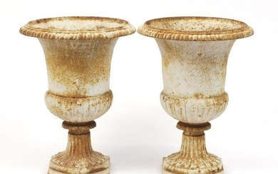 Pair of French cast iron campana urn planters, 48.5cm