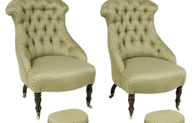 Pair of Napoleon III Side Chairs & Regency Stools