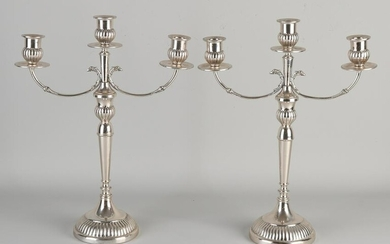 Pair of silver candlesticks, 800/000, 3-light, placed
