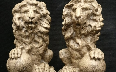 Pair of small Venetian Lions - H 25 cm - Marble of Istria - 20th century