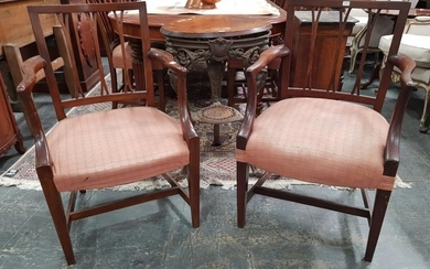 Part Georgian Mahogany 'Set' of Eight Hepplewhite Style Dining Chairs, including two armchairs, with slatted backs, pink upholstered...