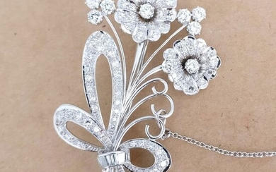 Platinum - Brooch - 1.05 ct Diamond - Diamonds