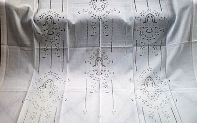 Pure linen curtain embroidery hand carving 210x300cm - Linen - 1975-2000