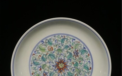 REPUBLICAN CHINESE HAND PAINTED DOUCAI PLATE,MARK