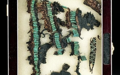 Rare Viking Textile Fragments w/ Bronze Beads