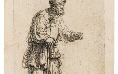 Rembrandt van Rijn (1606-1669) A Peasant in a High Cap, Standing Leaning on a Stick