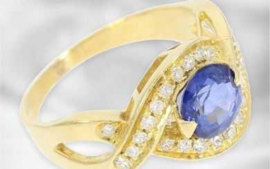 Ring: attractive sapphire/diamond goldsmith ring, handmade, 18K gold...