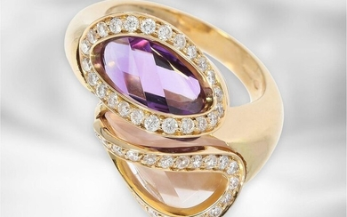 Ring: interesting rose gold ring with amethyst, rose...