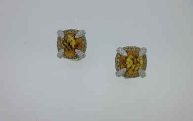 Rodney Rayner - A pair of 18ct gold diamond and citrine