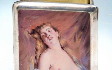SILVER & ENAMEL EROTIC WOMAN CIGARETTE CASE