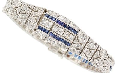 Sapphire, Diamond, White Gold Bracelet The bracelet features full-cut...