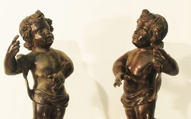 Sculpture, pair of putti - 63 cm - Bronze - Early 20th century