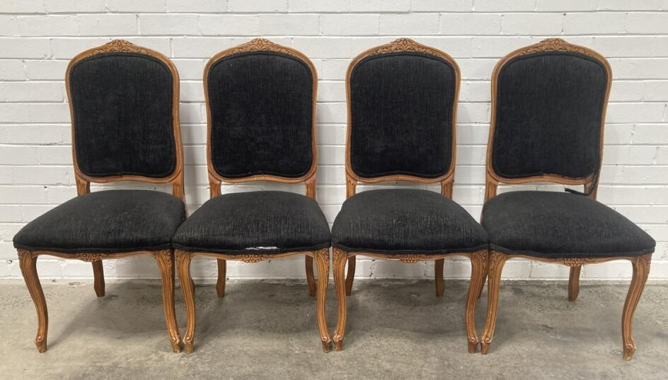 Set of 4 French Style Upholstered Dining Chairs (h:105 w:55 xd:50cm)